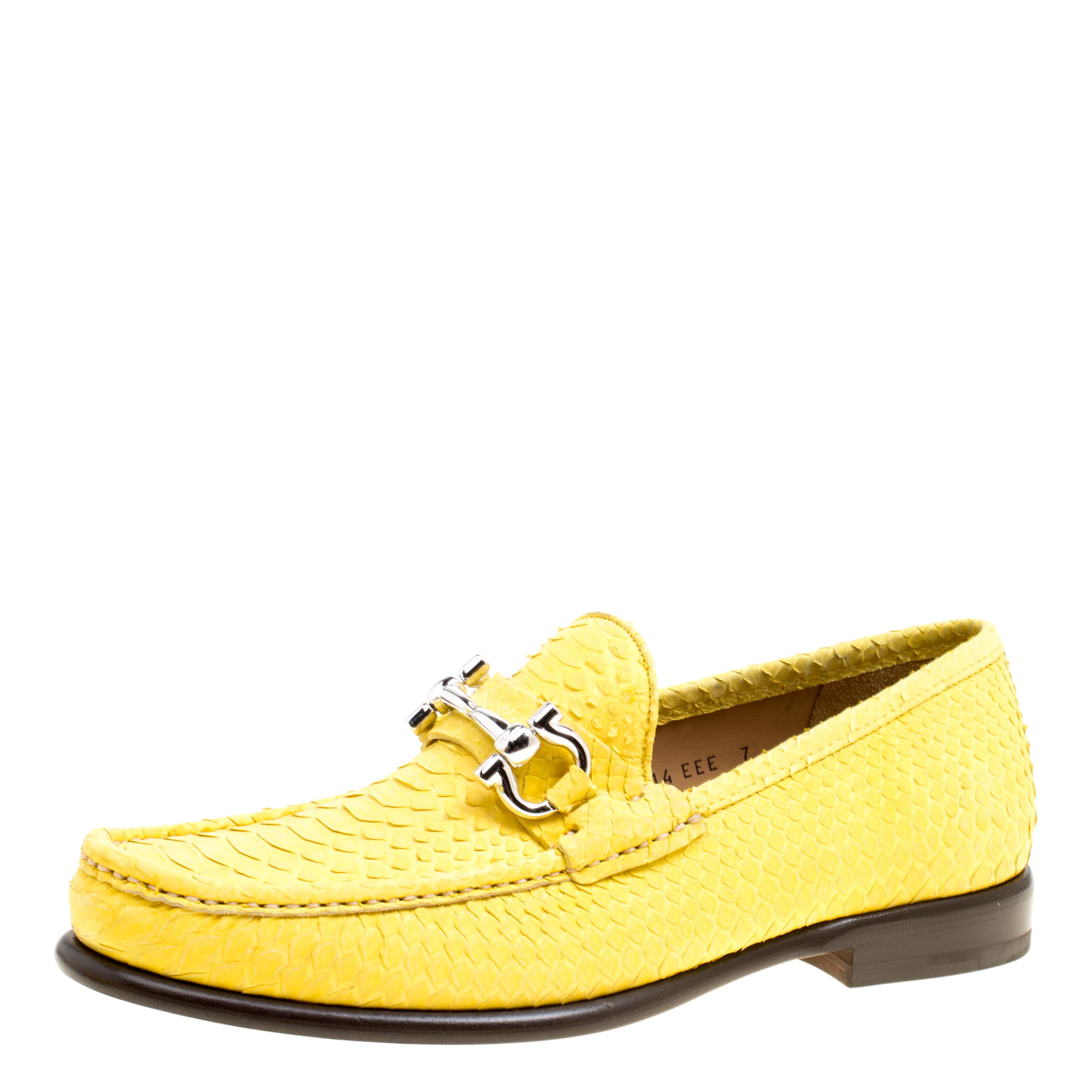 Salvatore Ferragamo Yellow Python Mason Loafers Size 41