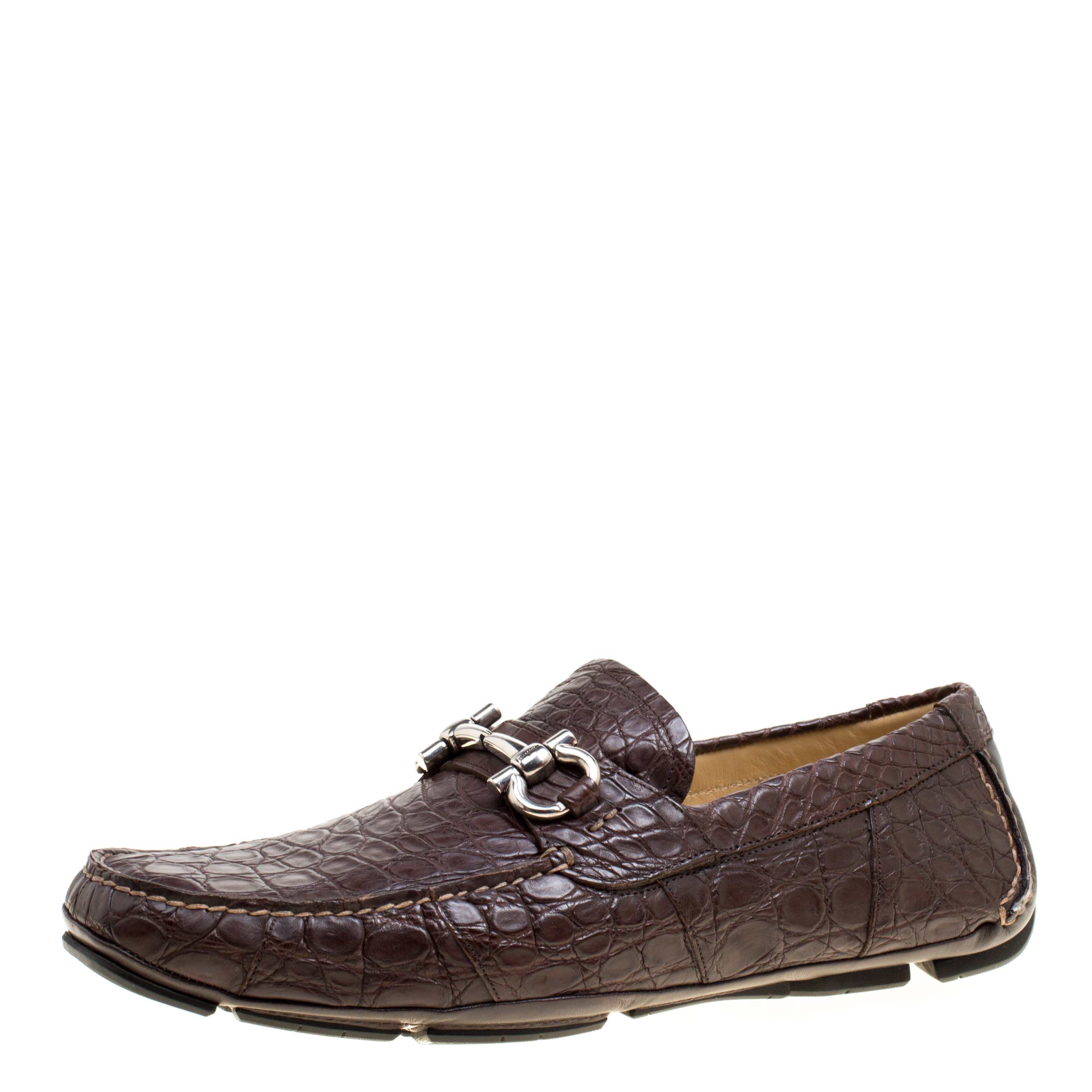 Salvatore Ferragamo Brown Crocodile Leather Parigi Bit Loafers Size 45