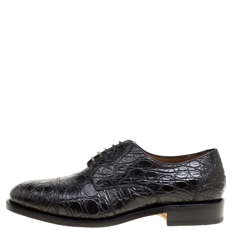 Купить со скидкой Salvatore Ferragamo Black Crocodile Leather Nordland Derby Size 42.5