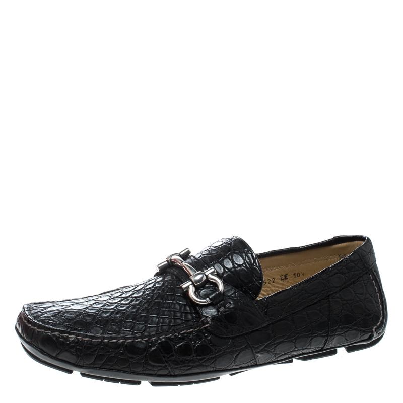 e2e8055776d ... Salvatore Ferragamo Black Crocodile Leather Parigi Bit Loafers Size  44.5. nextprev. prevnext