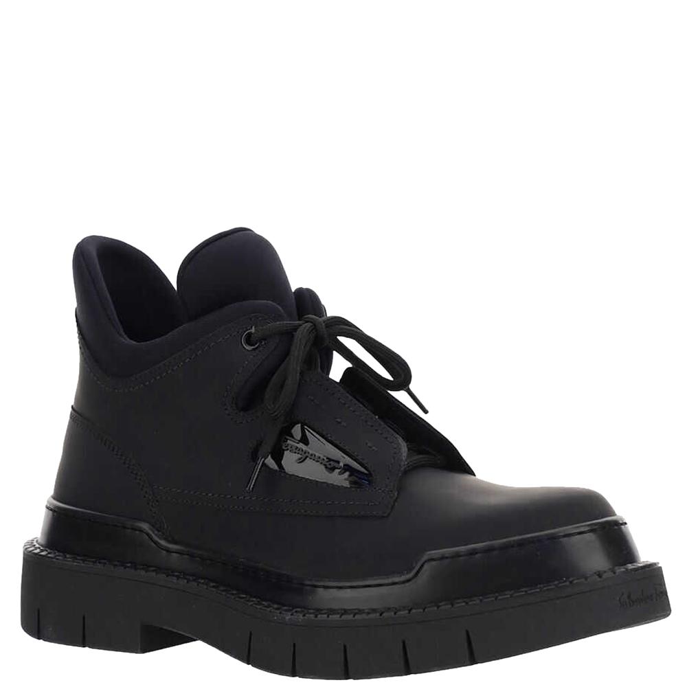 Salvatore Ferragamo Black technical fabric and calf leather Ankle boots Size EU 41 US 8
