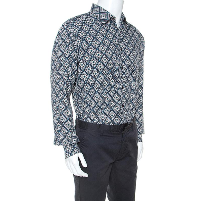 Salvatore Ferragamo Multicolor Abstract Drucken Baumwolle Derby Fit Shirt XL