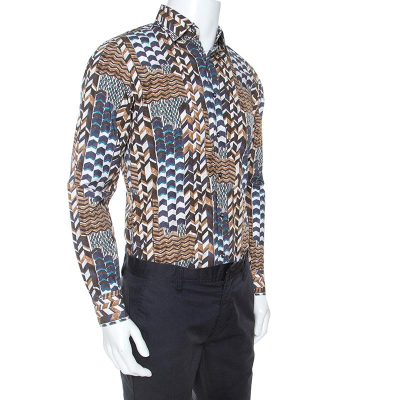 Salvatore Ferragamo Braune Geometrischen Drucken Baumwolle Derby Fit Shirt S