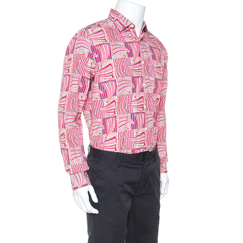 Salvatore Ferragamo Rosa Segelboot Gedruckt Baumwolle Derby Fit Shirt L