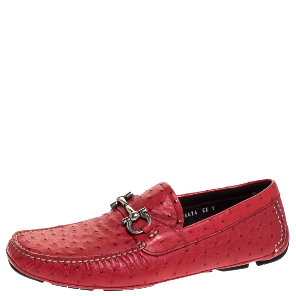 Salvatore Ferragamo Red Ostrich Leather Parigi Driving Loafers Size 43