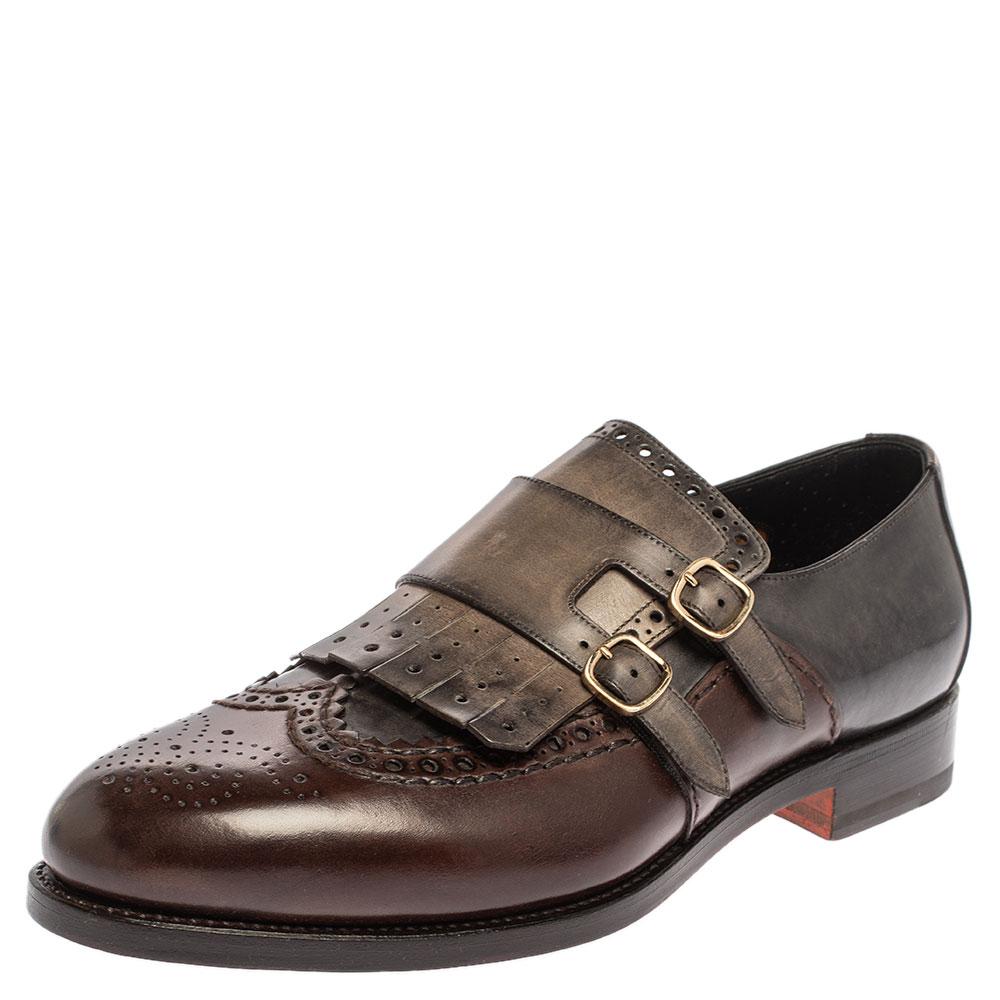Santoni Brown/Grey Brogue Leather Fringe Monk Oxfords Size 44.5