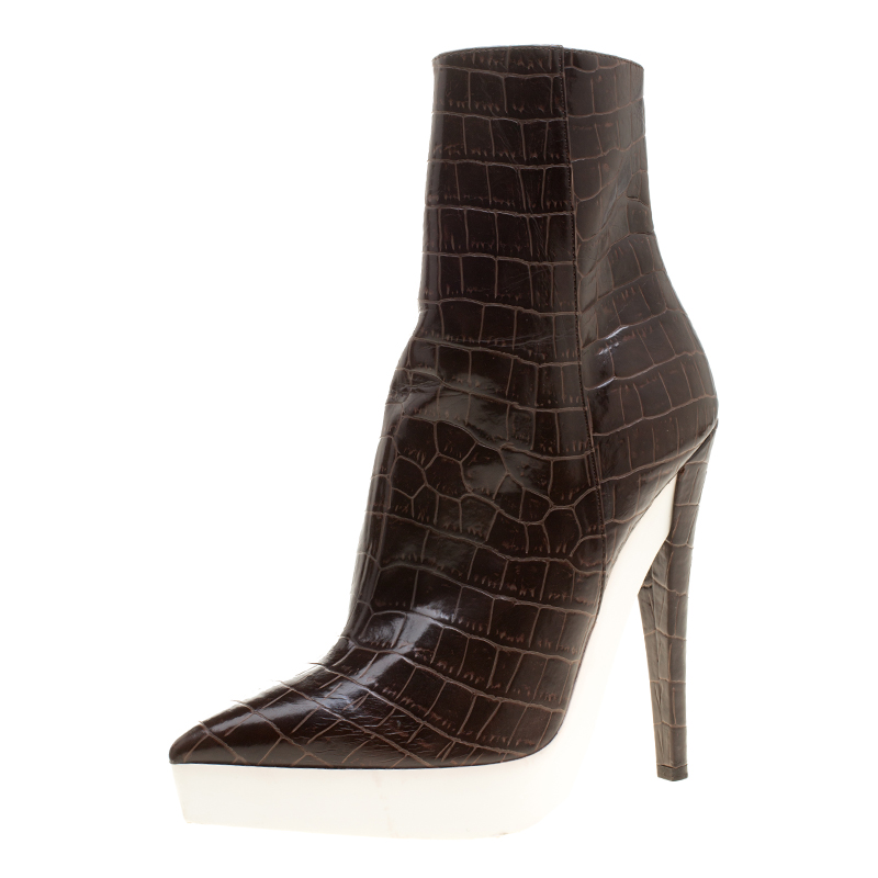 357a403bafb Stella McCartney Brown Croc Embossed Ankle Boots Size 39