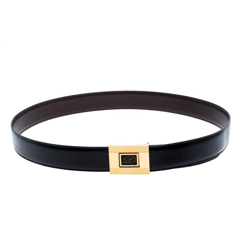 S.T. Dupont Black Leather Belt Size 95CM