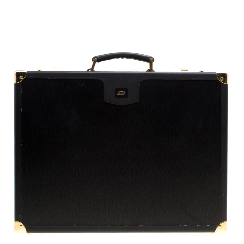 S.T. Dupont Black Leather Briefcase