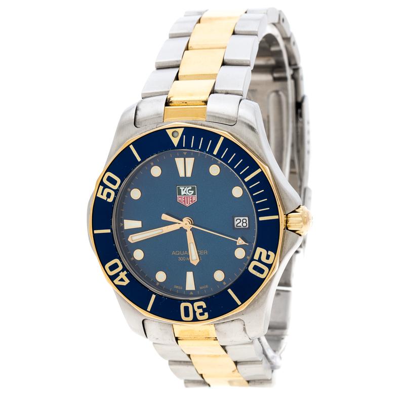Tag Heuer Blue Two Tone Stainless Steel Aquaracer Wab1120 Men S Wristwatch 39 Mm