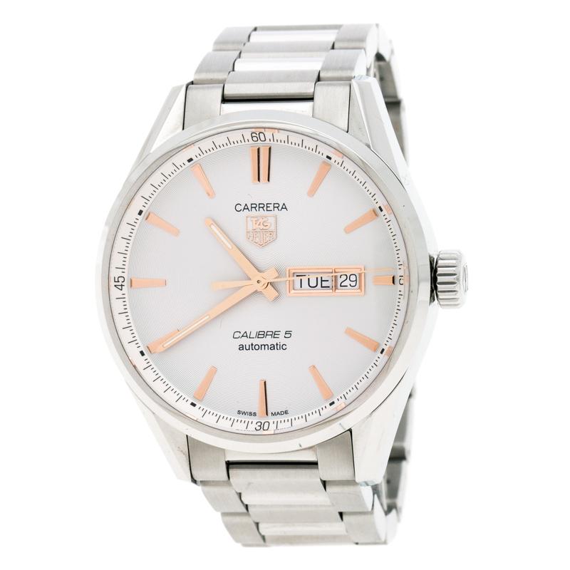 Tag Heuer Silver White Stainless Steel Carrera Caliber 5 WAR201D.BA0723 Men's Wristwatch 40 mm