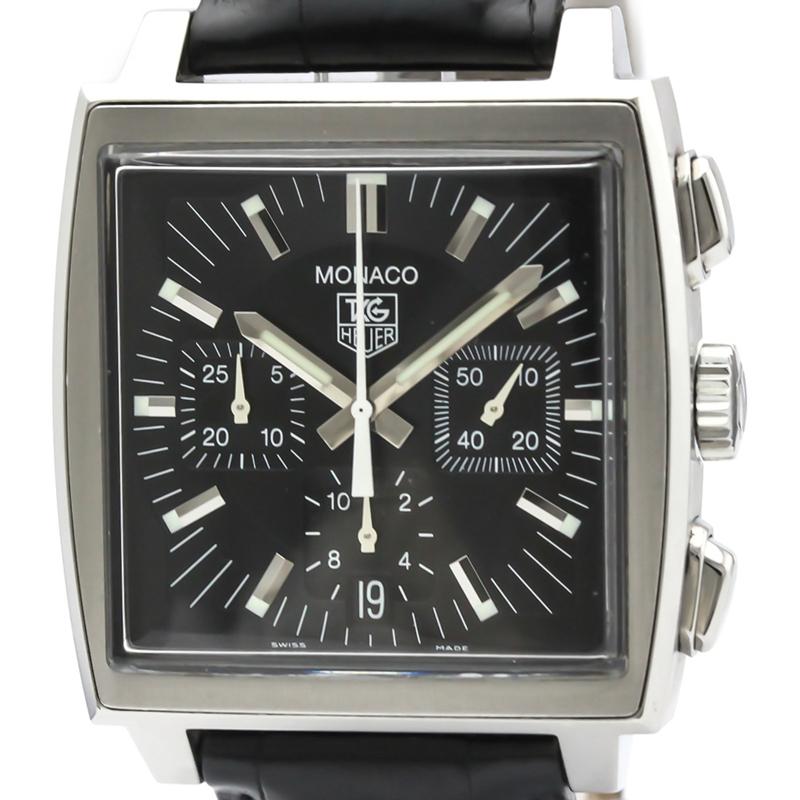 Tag Heuer Black Stainless Steel Monaco Chronograph Cw2111 Men's Wristwatch 39 MM