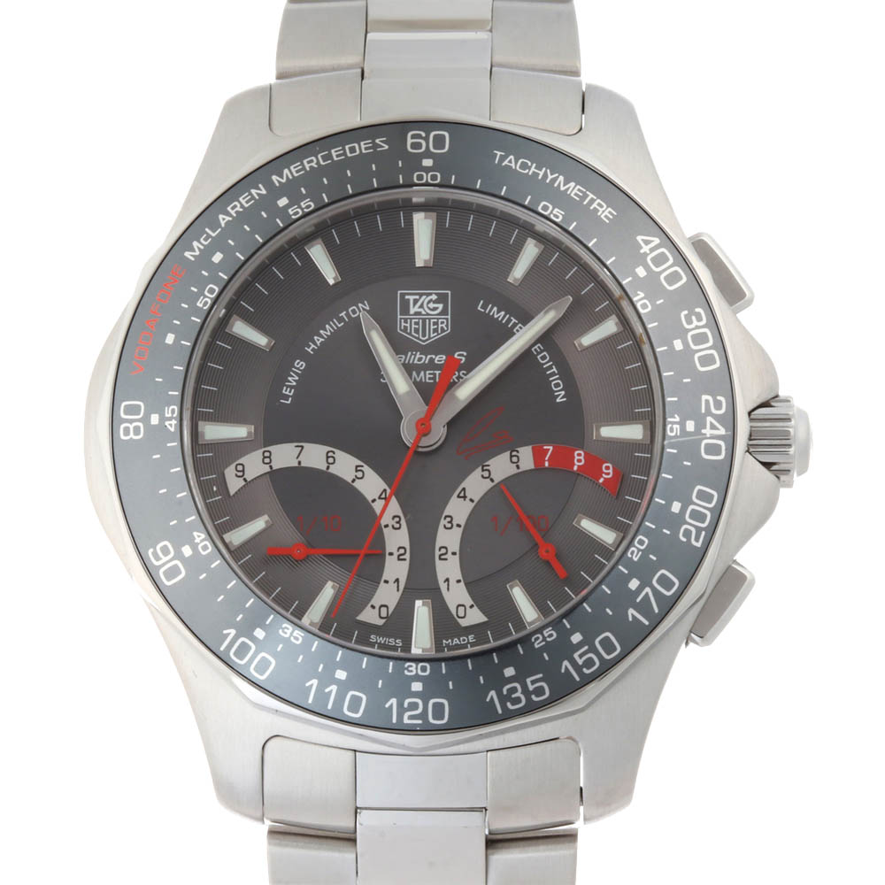 TAG HEUER GREY STAINLESS STEEL AQUARACER FERNANDO ALONSO 3500 LIMITED CAF7113 MEN'S WRISTWATCH 41 MM
