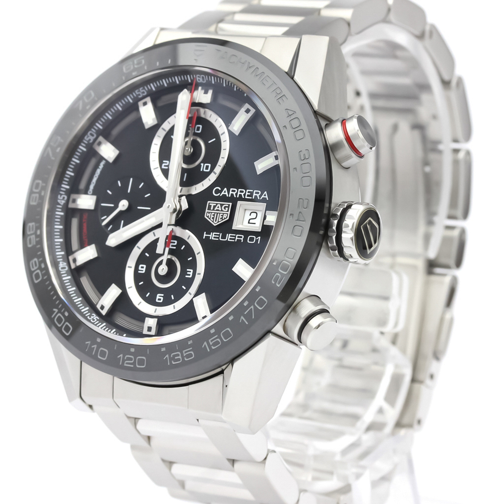 TAG HEUER BLACK STAINLESS STEEL CARRERA AUTOMATIC CAR201Z MEN'S WRISTWATCH 43 MM
