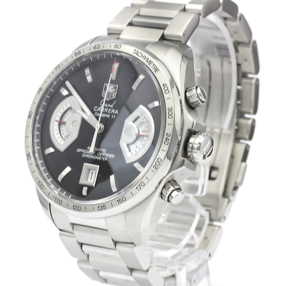TAG HEUER BLACK STAINLESS STEEL GRAND CARRERA CALIBRE 17 AUTOMATIC WATCH CAV511A MEN'S WRISTWATCH 43 MM