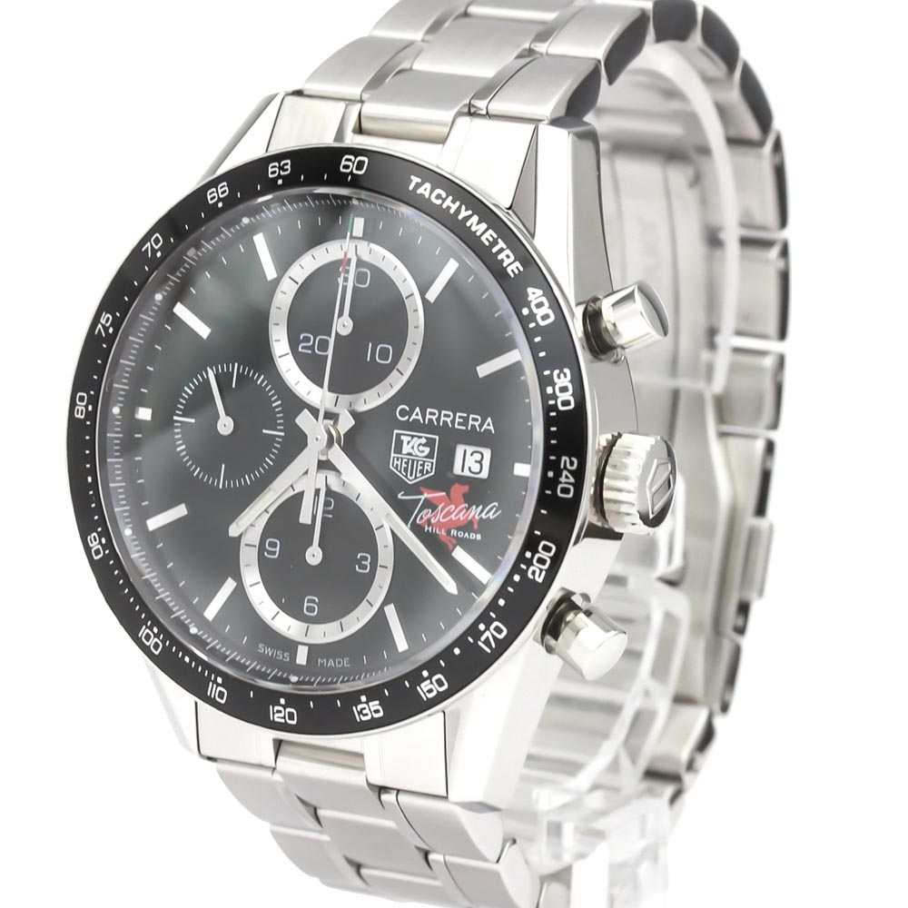 TAG HEUER BLACK STAINLESS STEEL CARRERA CV201Q AUTOMATIC MEN'S WRISTWATCH 41 MM