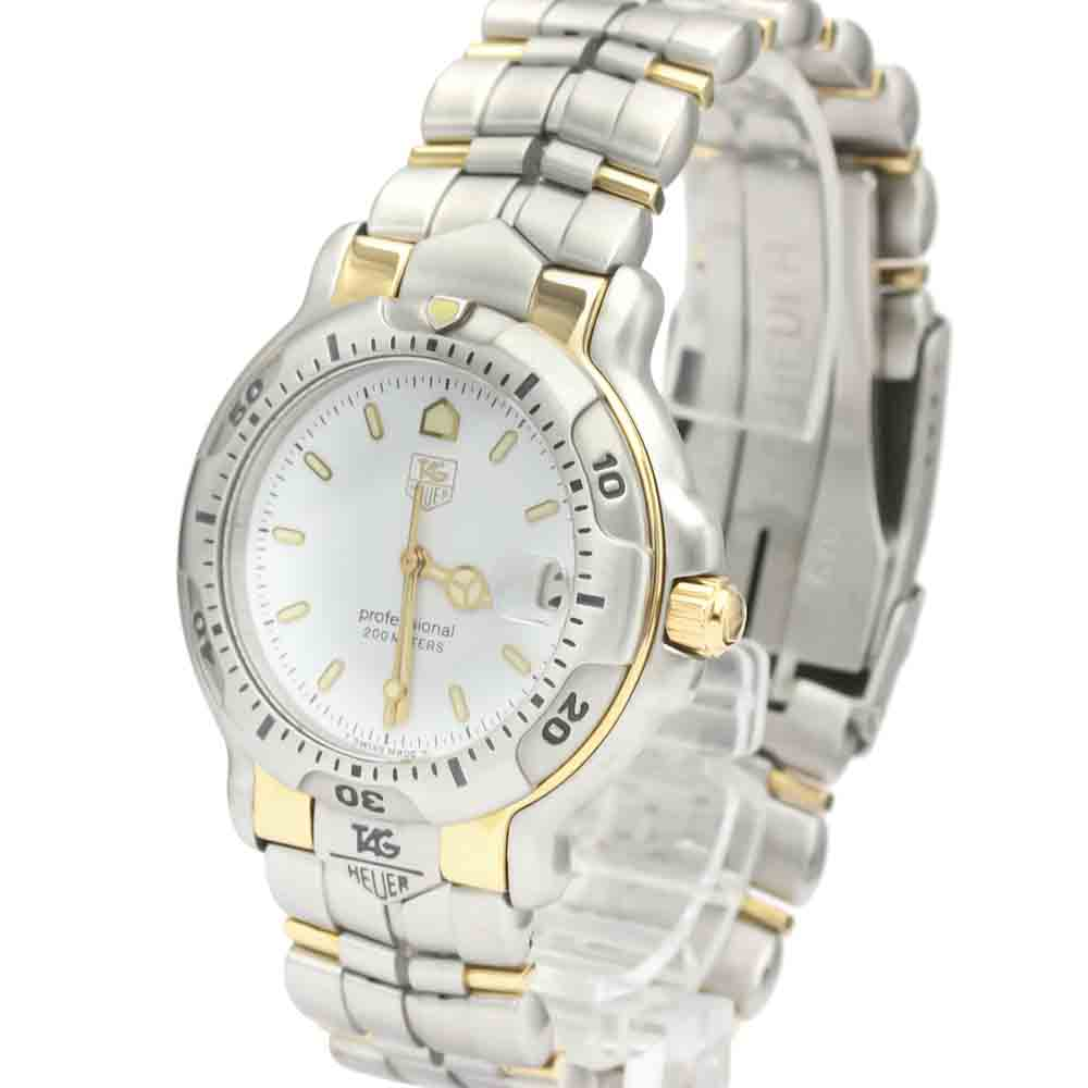 TAG HEUER WHITE 18K YELLOW GOLD AND STAINLESS STEEL 6000 PROFESSIONAL WH1151 MEN'S WRISTWATCH 39 MM