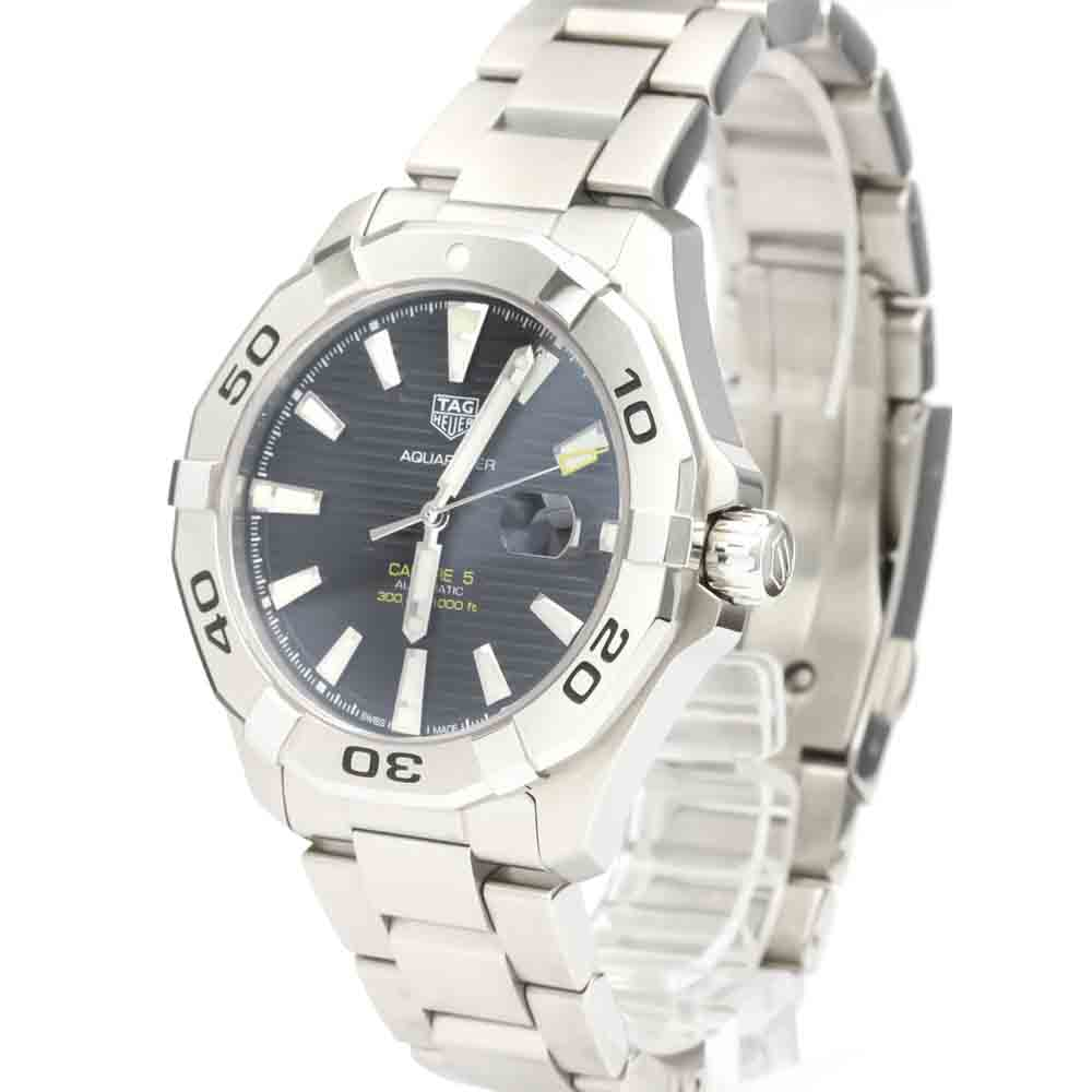 TAG HEUER BLACK STAINLESS STEEL AQUARACER CALIBRE 5 AUTOMATIC WAF2010 MEN'S WRISTWATCH 43 MM