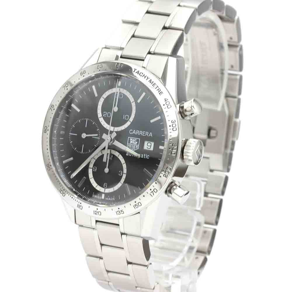 TAG HEUER BLACK STAINLESS STEEL CARRERA CHRONOGRAPH AUTOMATIC CV2016 MEN'S WRISTWATCH 41 MM
