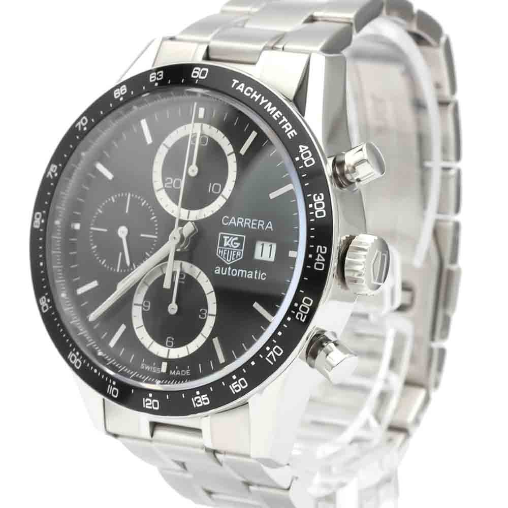 TAG HEUER BLACK STAINLESS STEEL CARRERA CHRONOGRAPH AUTOMATIC CV2010 MEN'S WRISTWATCH 41 MM