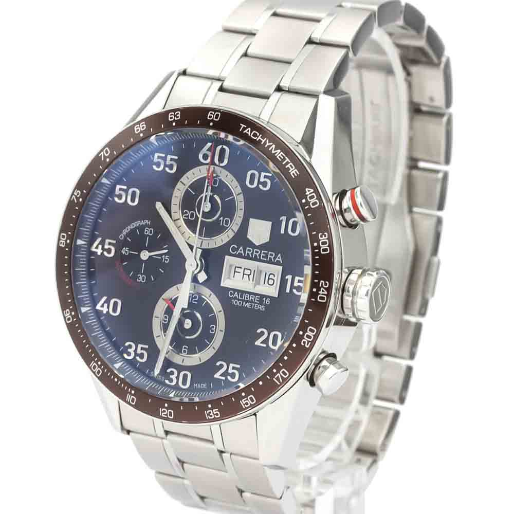 TAG HEUER BROWN STAINLESS STEEL CARRERA AUTOMATIC CV2A12 MEN'S WRISTWATCH 43 MM