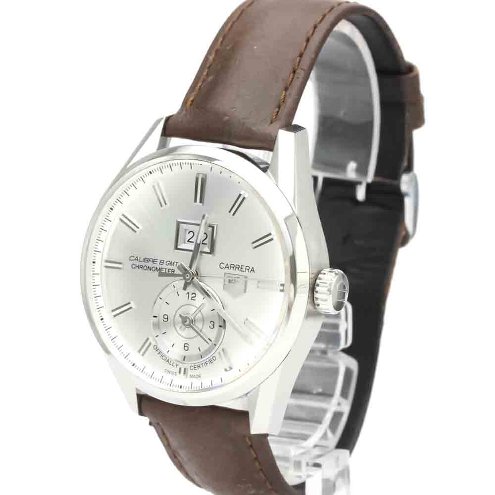 TAG HEUER SILVER STAINLESS STEEL CARRERA CALIBRE 8 GMT AUTOMATIC WAR5011 MEN'S WRISTWATCH 41 MM