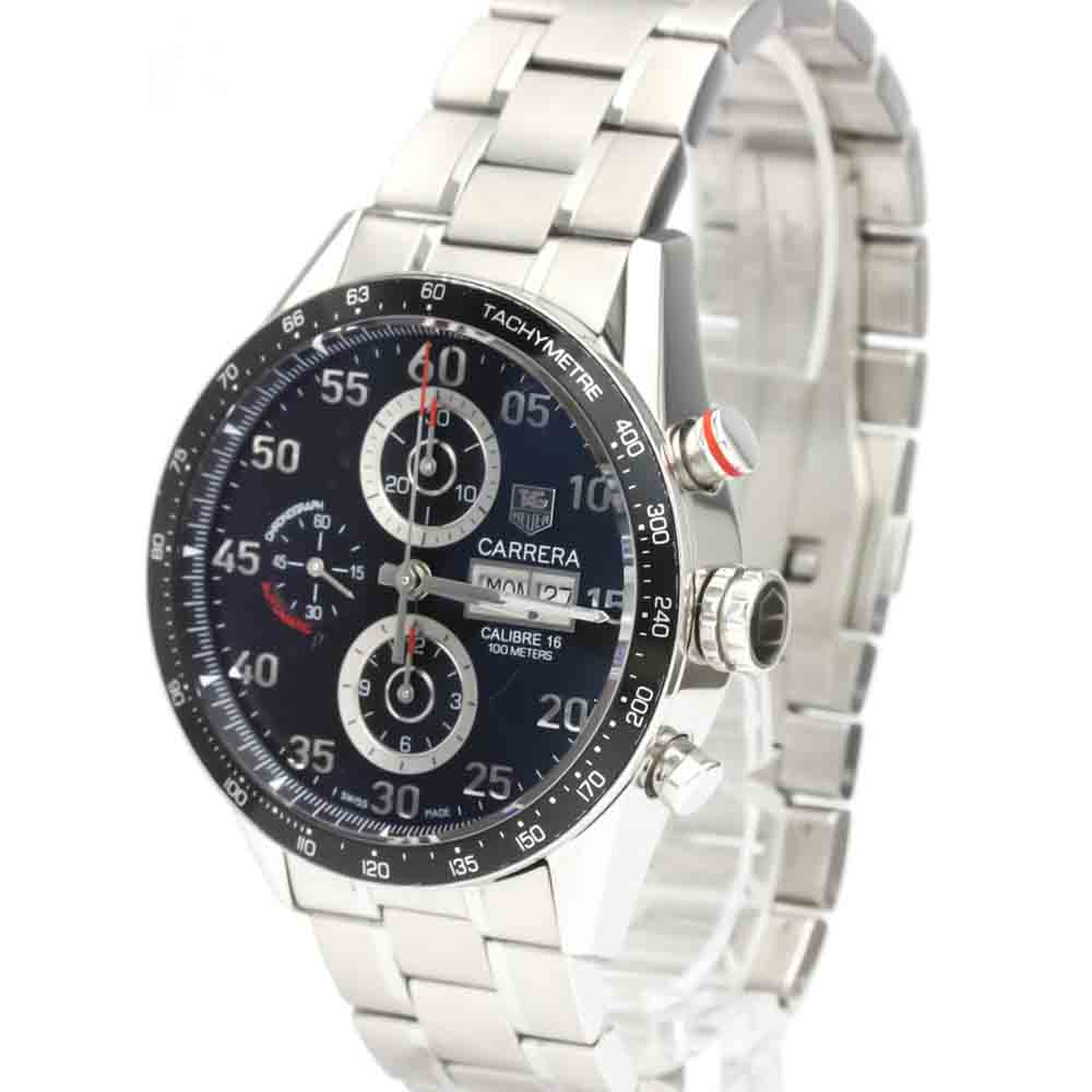 TAG HEUER BLACK STAINLESS STEEL CARRERA CALIBRE 16 DAY DATE CHRONOGRAPH CV2A10 MEN'S WRISTWATCH 43 MM