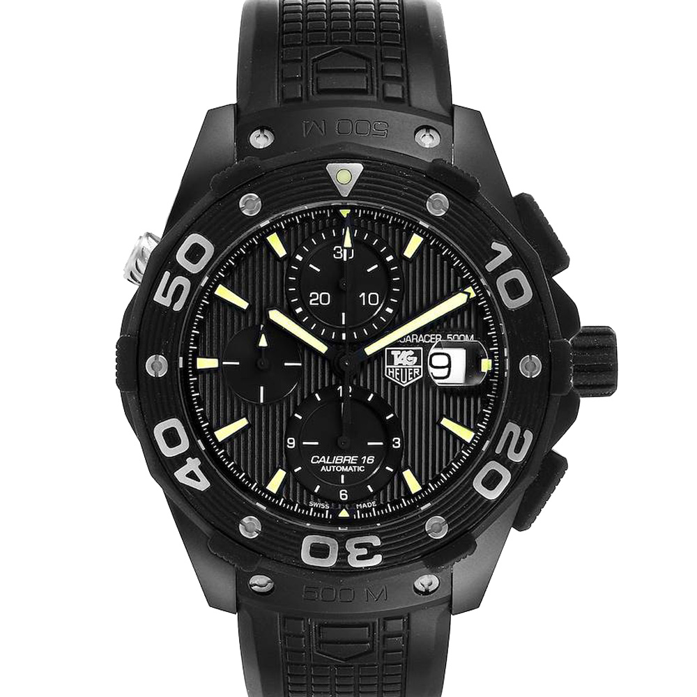 Pre-owned Tag Heuer Black Titanium Pvd Aquaracer Calibre 16 Caj2180 Men's Wristwatch 44 Mm