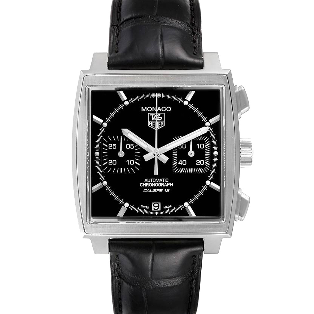Pre-owned Tag Heuer Black Stainless Steel Monaco Automatic Caw2110 Men's Wristwatch 39 Mm