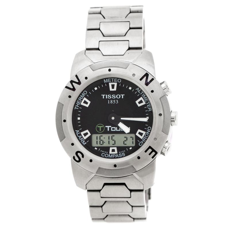 Tissot Black Stainless Steel T-Touch Z251/351 Men's Wristwatch 41 mm