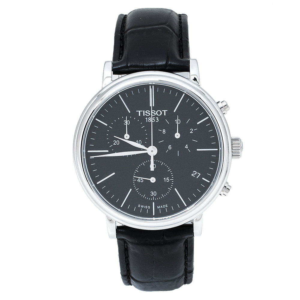 Pre-owned Tissot Black Stainless Steel Leather Carso Premium T122417a Men's Wristwatch 41 Mm