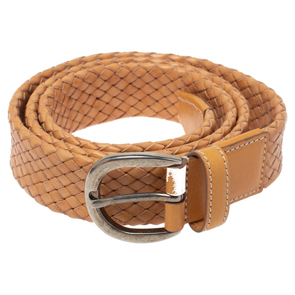Tod's Beige Woven Leather Belt 95cm
