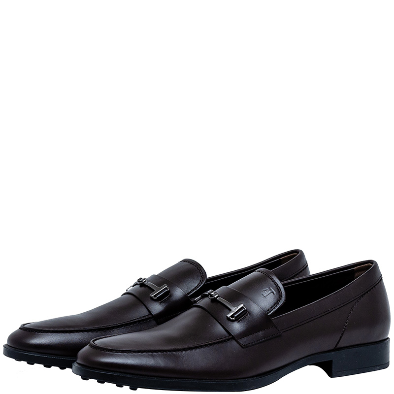 Tod's Dark Brown Leather Penny Loafers Size 43