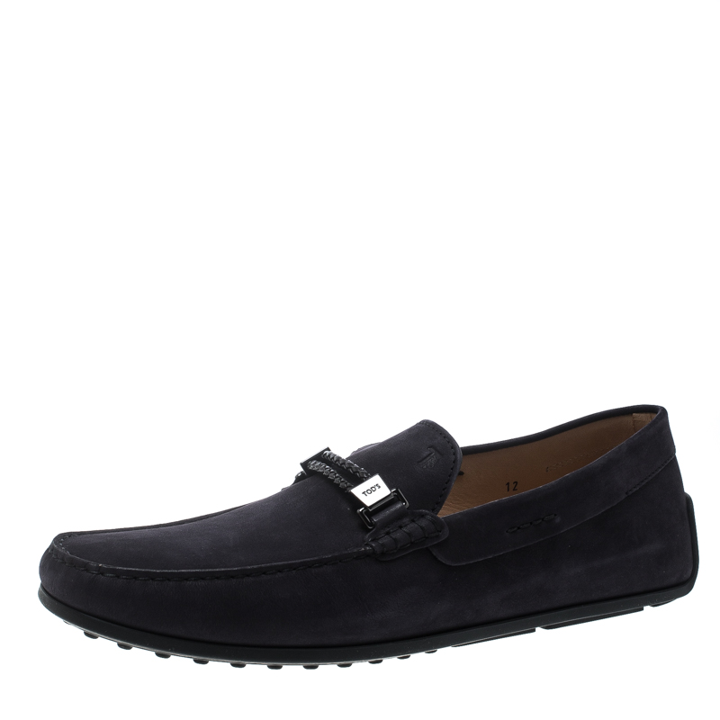 Tod's Black Suede Braided Bit Loafers Size 47