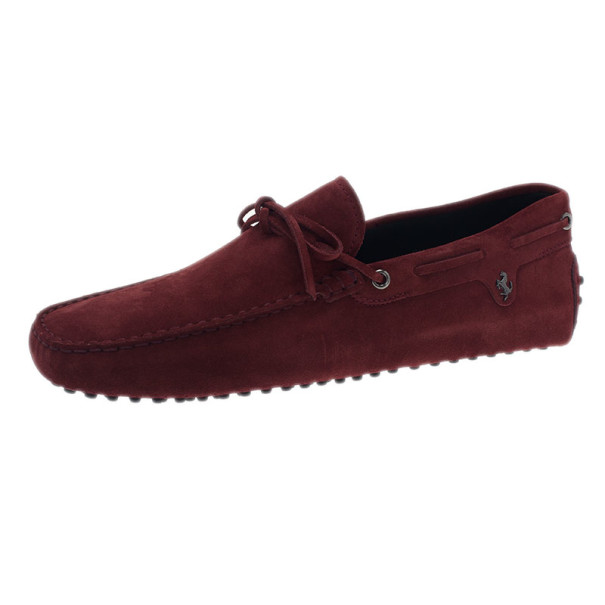 d80792d48c4 Buy Tod s for Ferrari Maroon Suede Limited Edition Gommino Loafers Size  42.5 1968 at best price