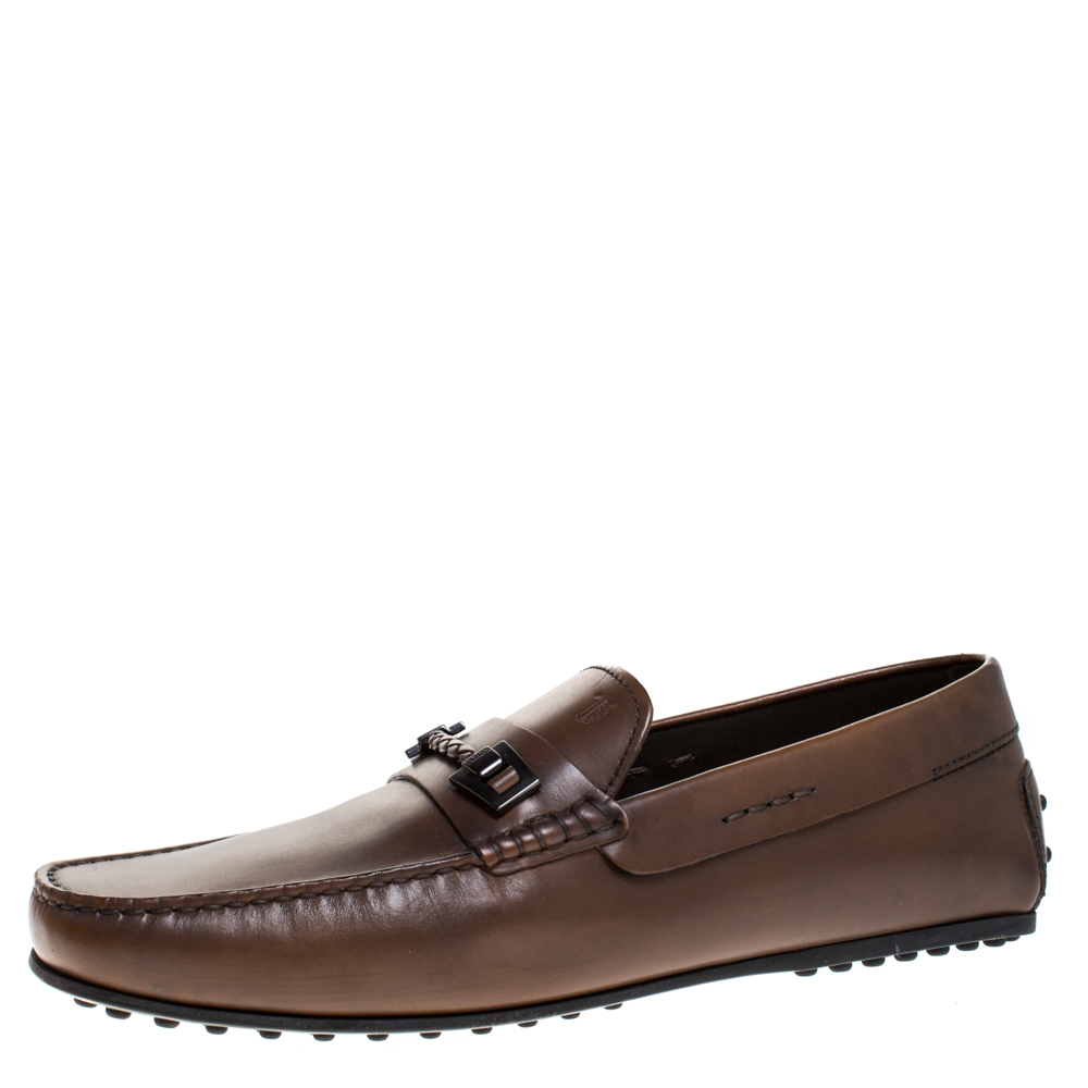 Tod's Brown Leather Braided Horsebit Slip On Loafers Size 10