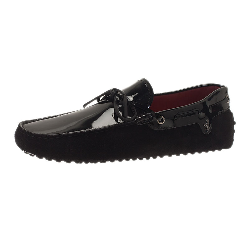 651d1e3f887 Buy Tod s for Ferrari Black Patent Leather and Suede Bow Loafers Size 41.5  39128 at best price