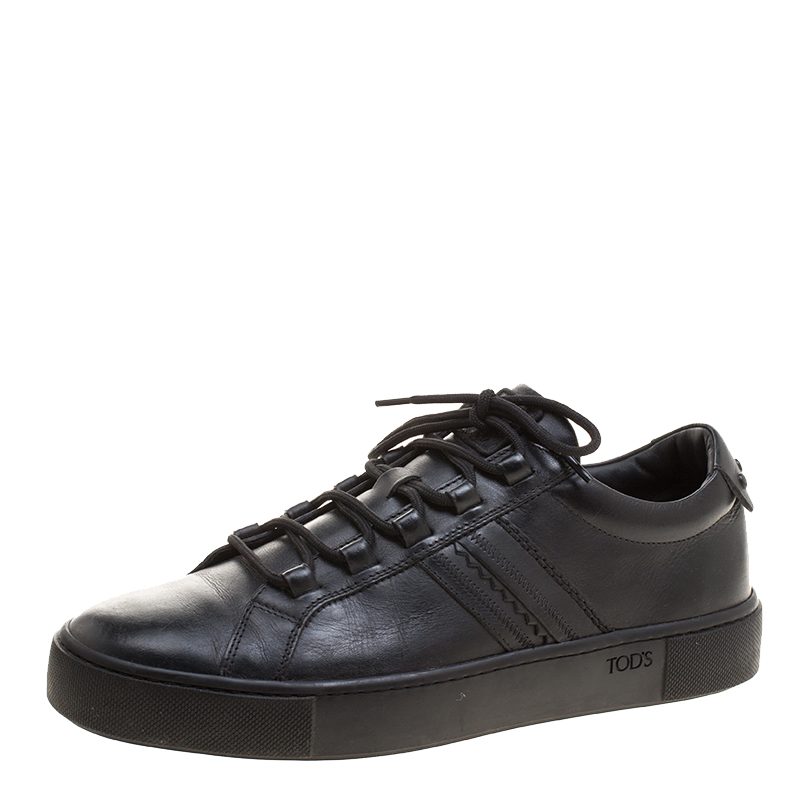 Tod's Black Leather Embroidery Stitch