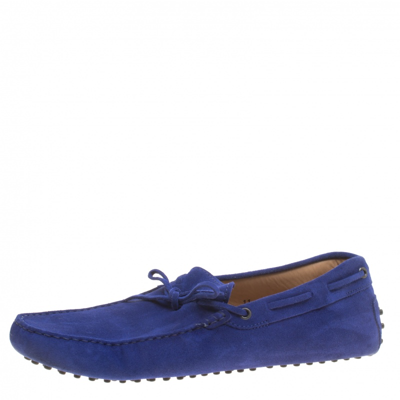 Tod's Blue Suede Bow Detail Driving Loafers Size 45.5