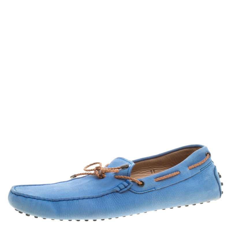 Tod's Blue Suede with Contrast Braided Bow Loafers Size 45.5