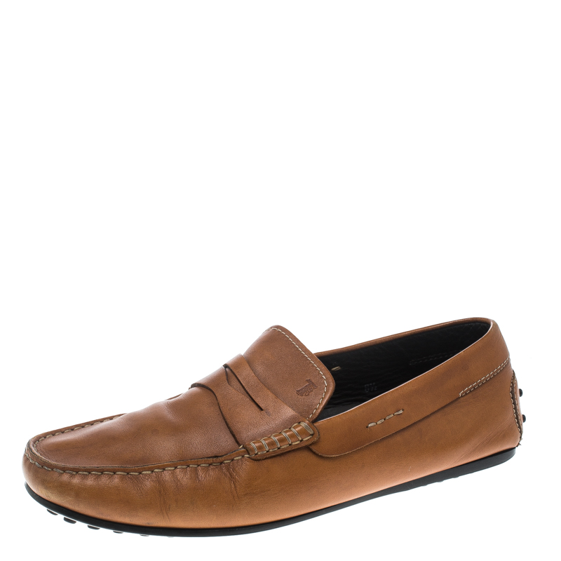 Tod's Tan Leather City Gommino Penny Loafers Size 42.5