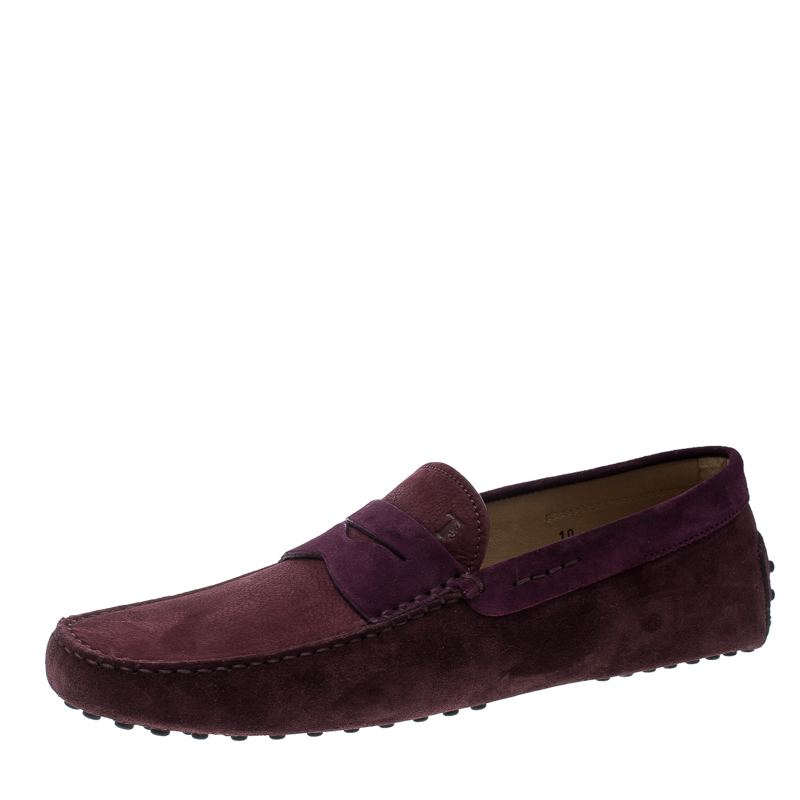 d817b9b44e0 Buy Tod s Purple Suede Penny Loafers Size 44.5 166374 at best price ...
