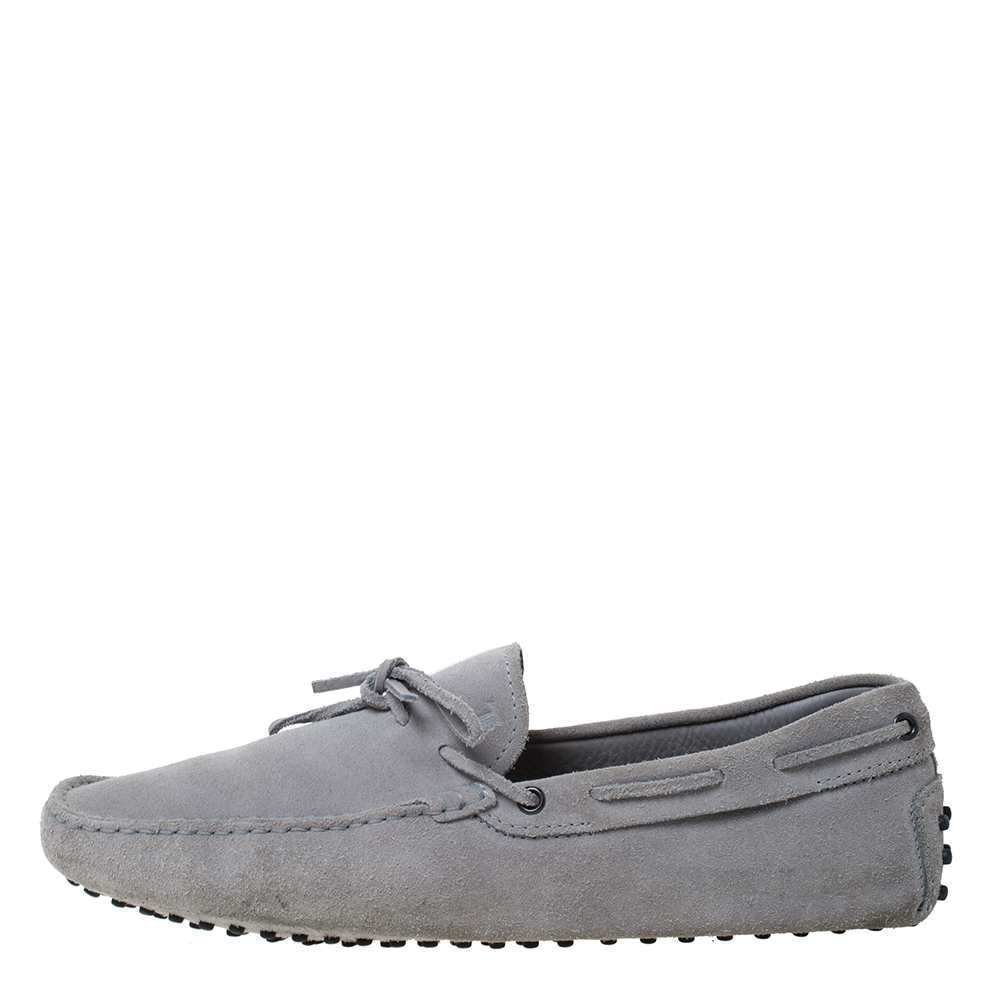 Tod's Grey Suede Bow Detail Driving Loafers Size 45, Tod's  - buy with discount