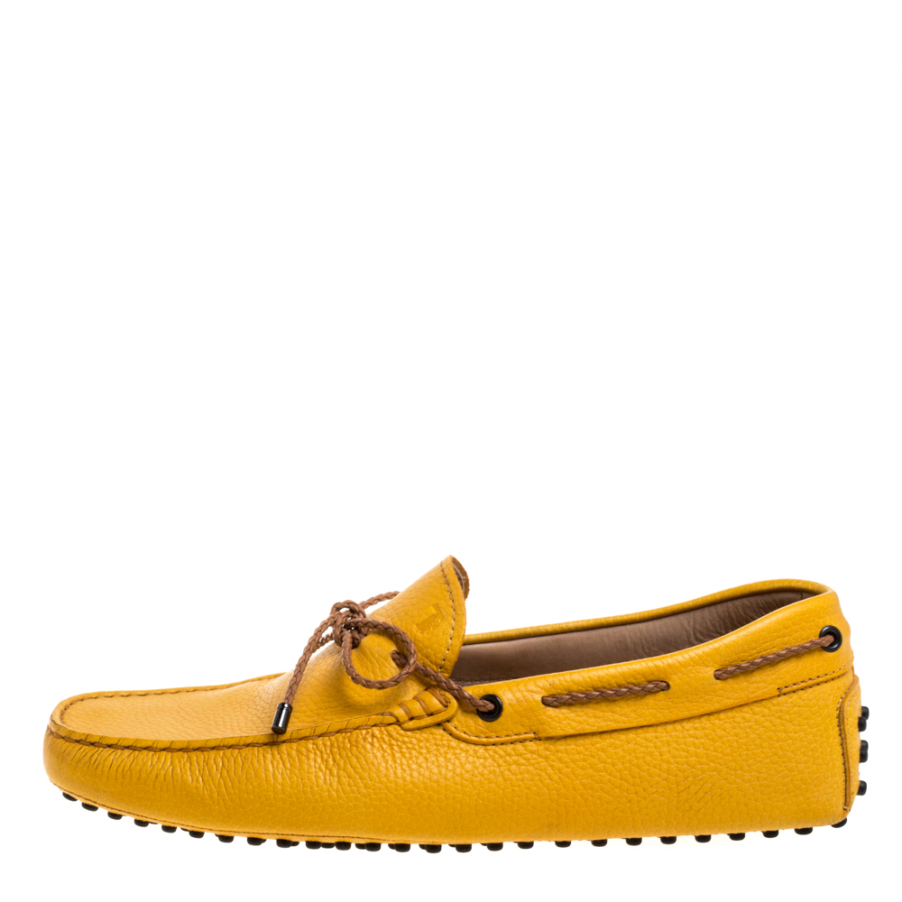 Tod's Yellow Leather Gommino Driving Bow Loafers Size 41.5