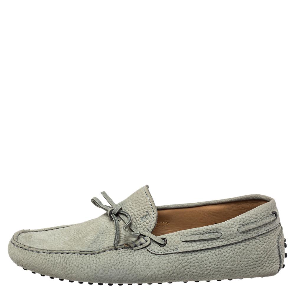 Tod's Grey Nubuck Slip On Loafers Size 42