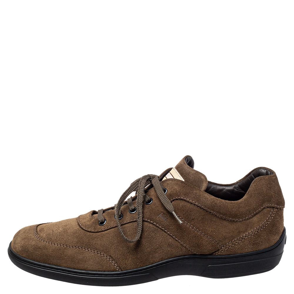Tod's Suede Olive Green Lace Up Sneaker Size 43