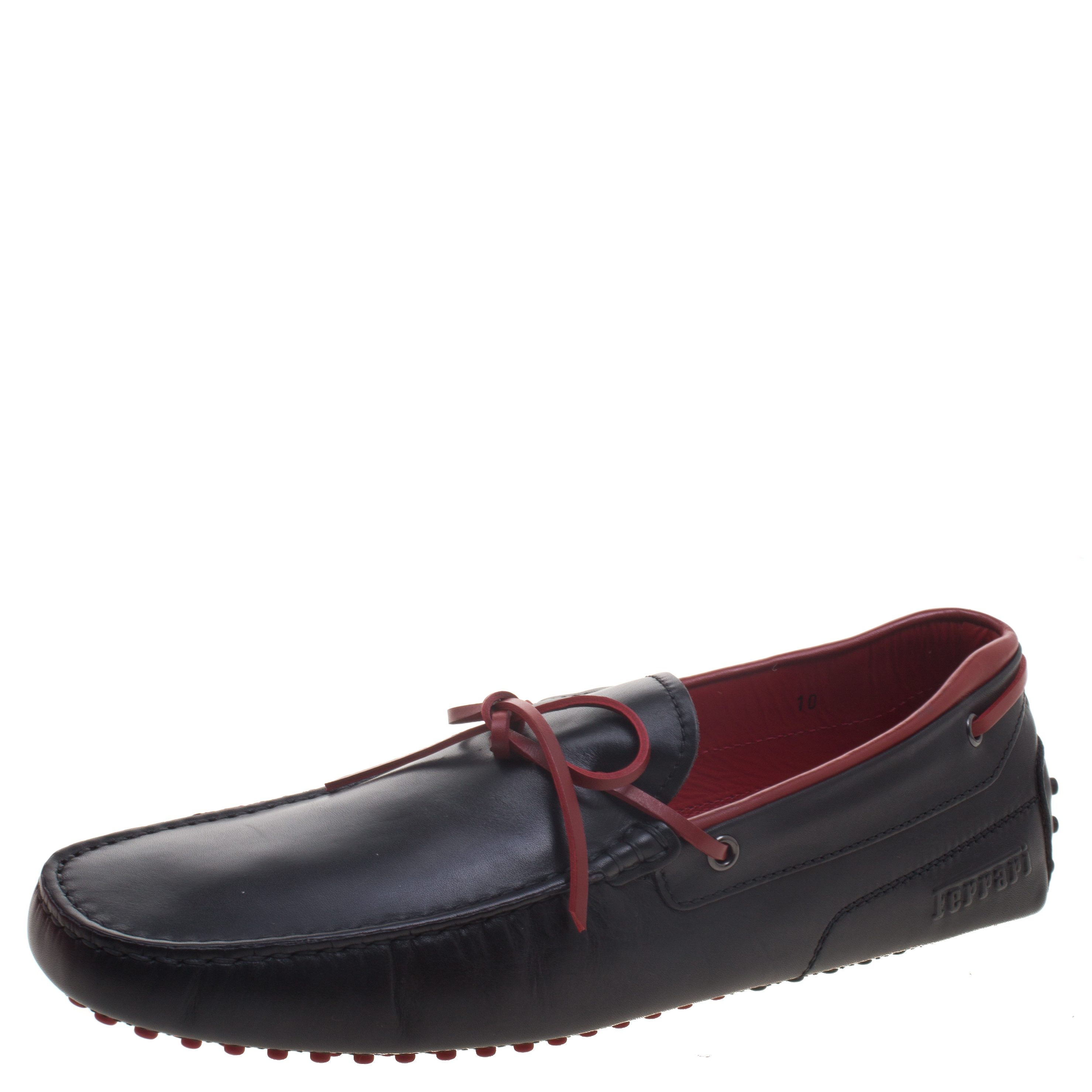 57ea2e8effd ... Tod s For Ferrari Black and Red Leather Bow Loafers Size 44.5.  nextprev. prevnext