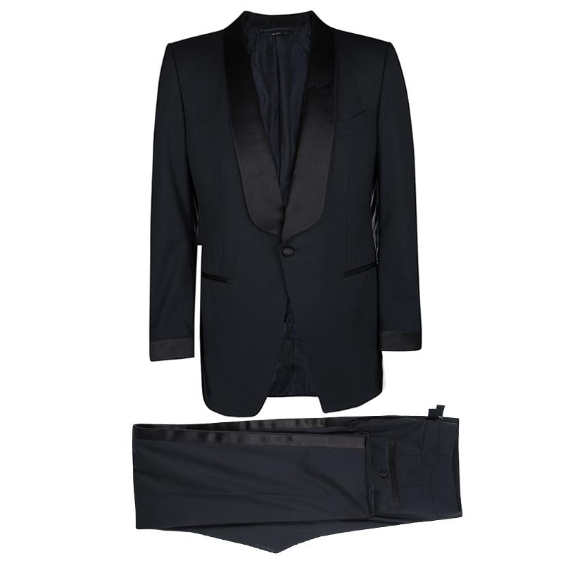 Tom Ford Midnight Blue Wool Contrast Trim James Bond Tuxedo Suit Xl
