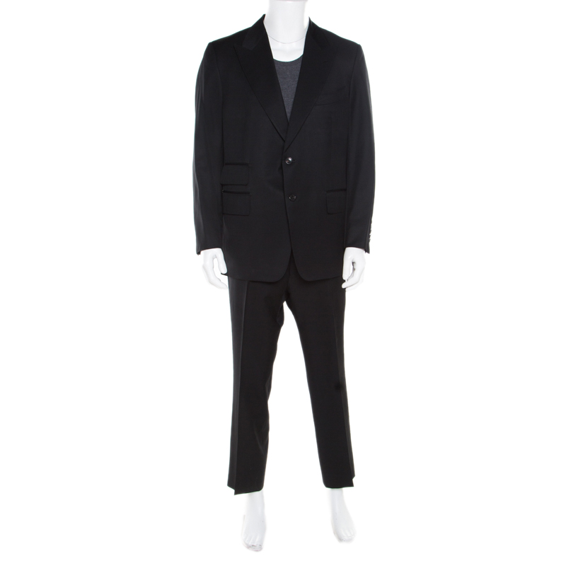 best deals on run shoes purchase cheap Tom Ford Black Wool and Mohair Tailored Suit XXL