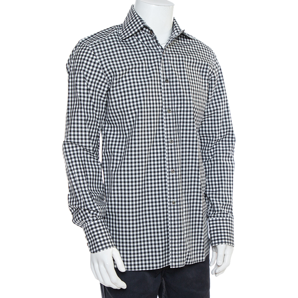 Tom Ford Monochrome Checkered Cotton Button Front Shirt L, Black  - buy with discount